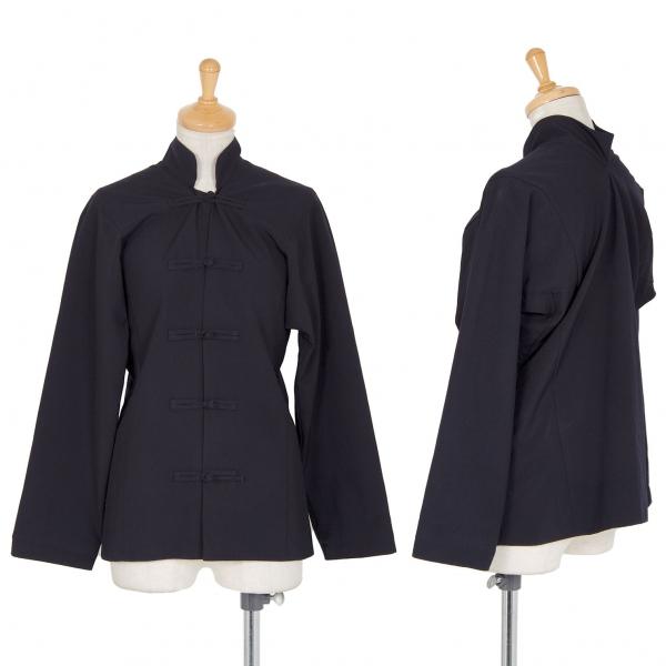 ジュンヤワタナベ コムデギャルソン ウール変形デザインチャイナシャツ 紺M