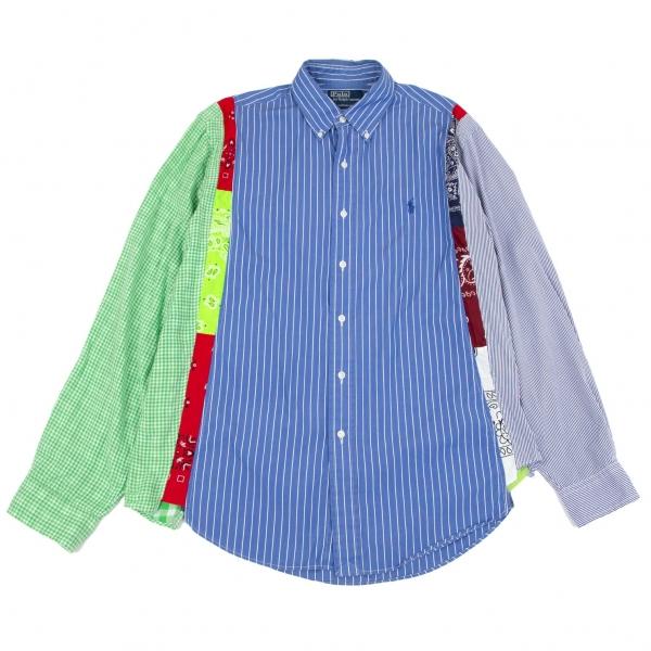 ポロラルフローレンPOLO RALPH LAUREN カスタムフィットクレイジーパターンシャツ 青マルチL