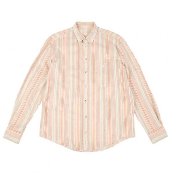 パパスPapas マルチストライプストレッチネルシャツ マルチ48