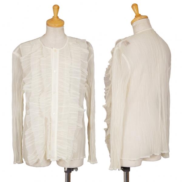 トリコ コムデギャルソンtricot COMME des GARCONS フロントフリルデザインシースルーシャツ クリームM位