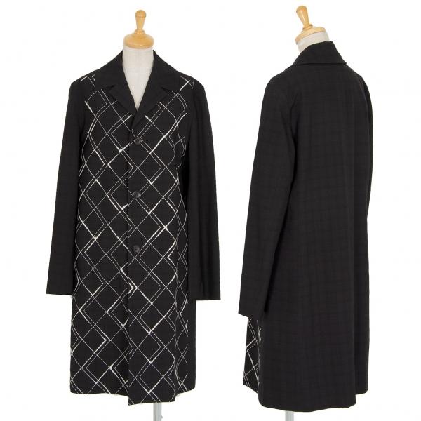 トリコ コムデギャルソンtricot COMME des GARCONS ウールダイヤ刺繍ステンカラーコート 黒M位