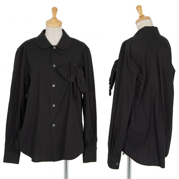 ブラックコムデギャルソンBLACK COMME des GARCONS コットン丸襟リボン切替シャツ 黒L