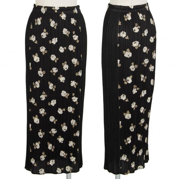 プリーツプリーズPLEATS PLEASE フラワープリントAラインスカート 黒1