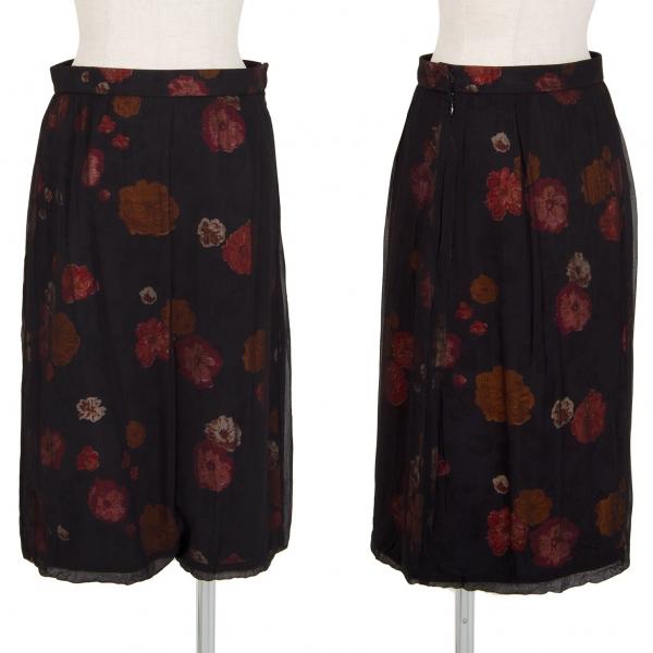 トリココムデギャルソンtricot COMME des GARCONS フラワー抜染オーバーレイデザインスカート 黒M