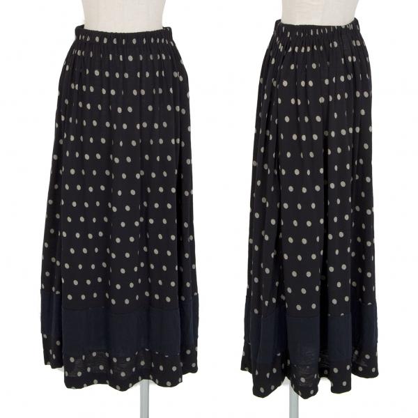 トリココムデギャルソンtricot COMME des GARCONS 裾切替ドットプリントスカート 濃紺M位