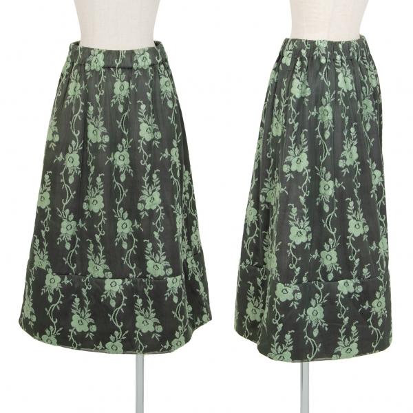 トリココムデギャルソンtricot COMME des GARCONS フラワージャガード中綿スカート 緑黒M位