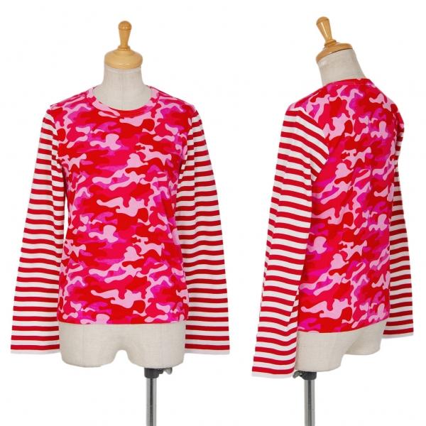 新品!コムデギャルソン ガールCOMME des GARCONS GIRL 袖ボーダーカモフラカットソー ピンク赤白XS