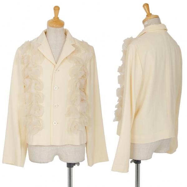 ローブドシャンブル コムデギャルソンrobe de chambre COMME des GARCONS フロントチュール装飾4Bジャケット クリームM位