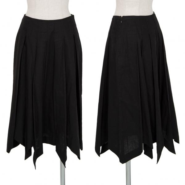 シビラSybilla コットンリネンプリーツスカート 黒M
