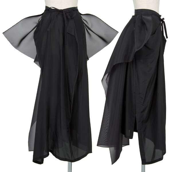 ヨウジヤマモト ファム yohji yamamoto FEMME ネットレイヤードシルクスカートセット 黒S・M