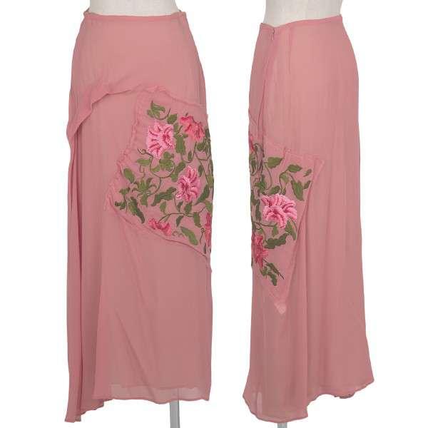 ヨウジヤマモト ノアール yohji yamamoto NOIR  刺繍シースルーシルクスカート ピンク3