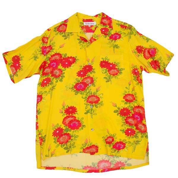 ワイズフォーメンY's for men 花柄プリントアロハレーヨンシャツ 黄赤緑3