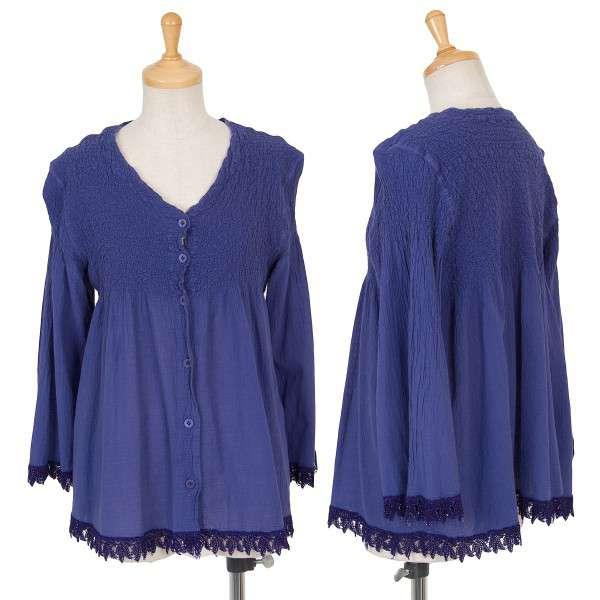 【SALE】イッセイミヤケISSEY MIYAKE me シワ加工裾レースチュニック 青紫M位