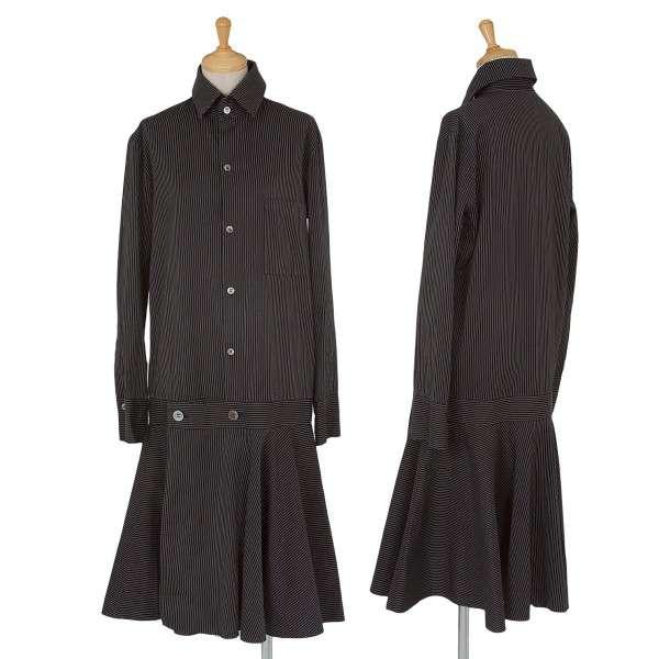 ワイズY's  ストライプシャツワンピース 黒1