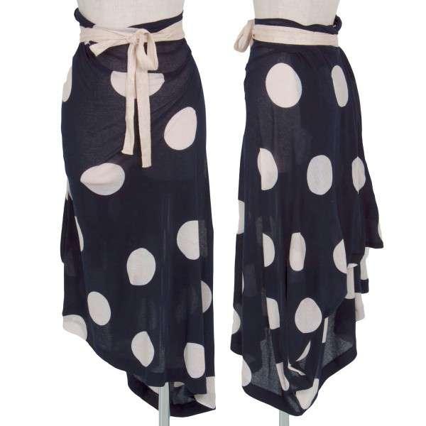 ワイズ Y's ドット柄コットンラップ風スカート 紺 白2