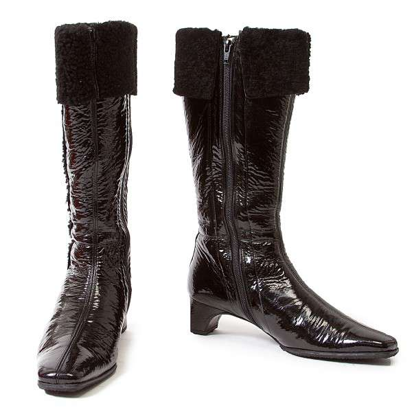 (SALE) CHARLES JOURDAN Patent Leather Boots Size US 6(K-22578)