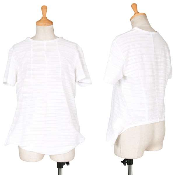 【SALE】トリコ コムデギャルソンtricot COMME des GARCONS 加工生地ボーダー柄裾変形デザインコットンTシャツ 白M位