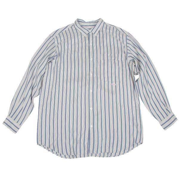 【SALE】パパスPapas ストライプシルクシャツ 白青L
