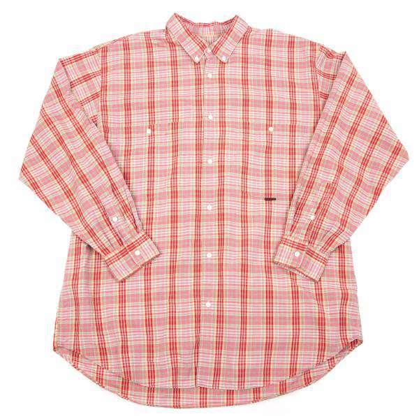【SALE】パパスPapas ボタンダウンコットンギンガムチェックシャツ 赤L