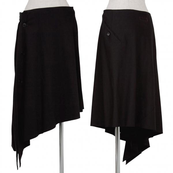 【SALE】ワイズ レッドレーベルY's Red Label ウールギャバ変形デザインスカート 黒2
