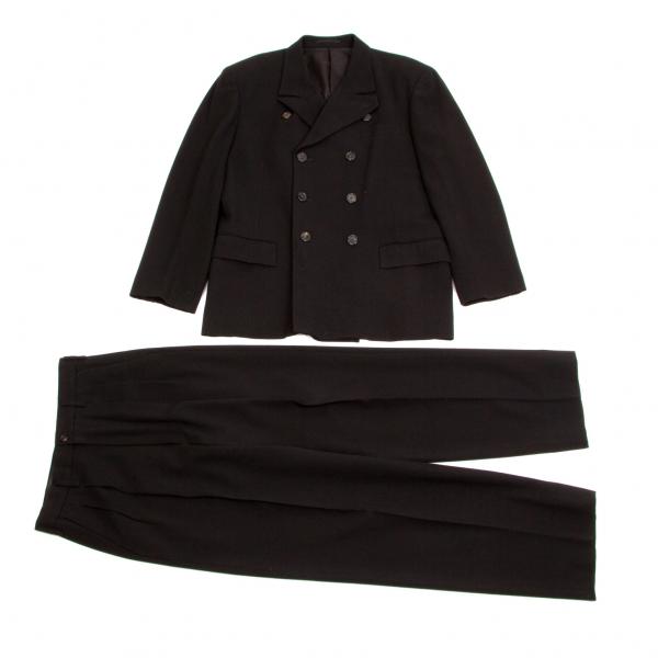 【SALE】ワイズフォーメンY's for men ウールコットン変形ラペルダブルセットアップスーツ黒S
