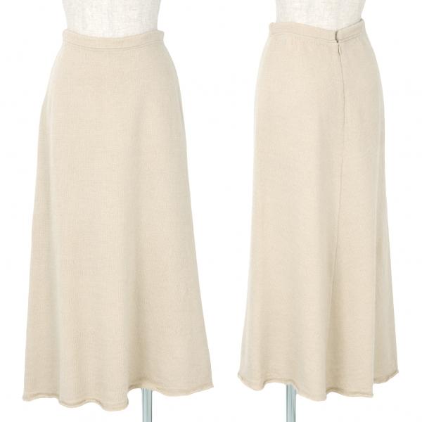 【SALE】ワイズY's 裾断ち切りウールニットスカートスカート ベージュ3