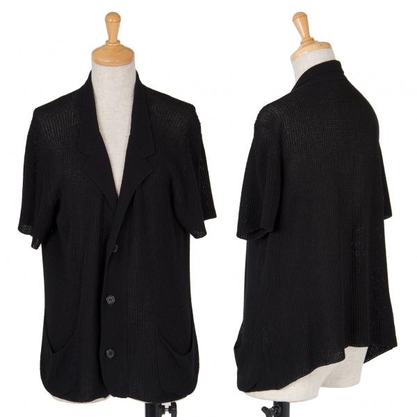 【SALE】ワイズY's レーヨンローゲージ半袖ニットジャケット 黒L位
