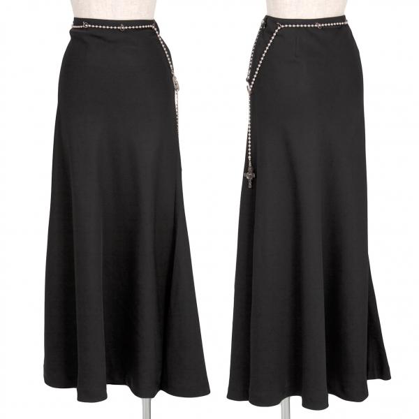 【SALE】ジャンポールゴルチエ ファムJean Paul GAULTIER FEMME ボールチェーンチャームベルトスカート 黒40