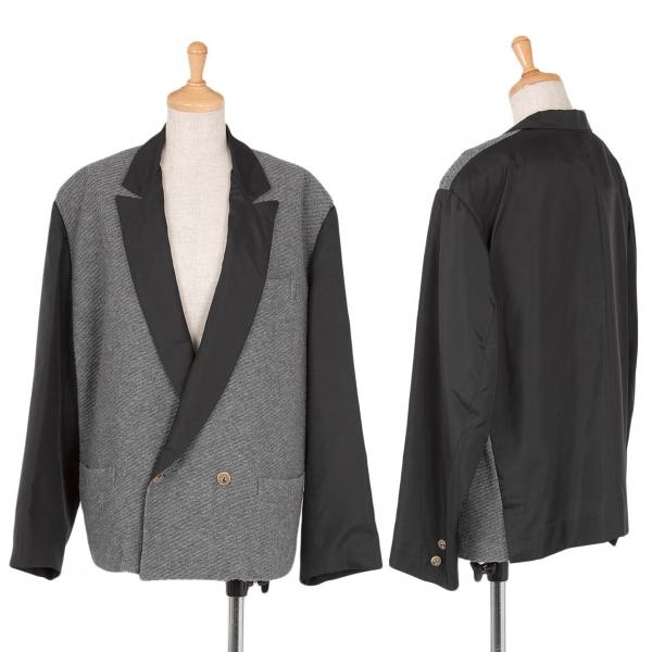 【SALE】ワイズY's ナイロン切替デザインピークドラペルジャケット 黒グレーM位