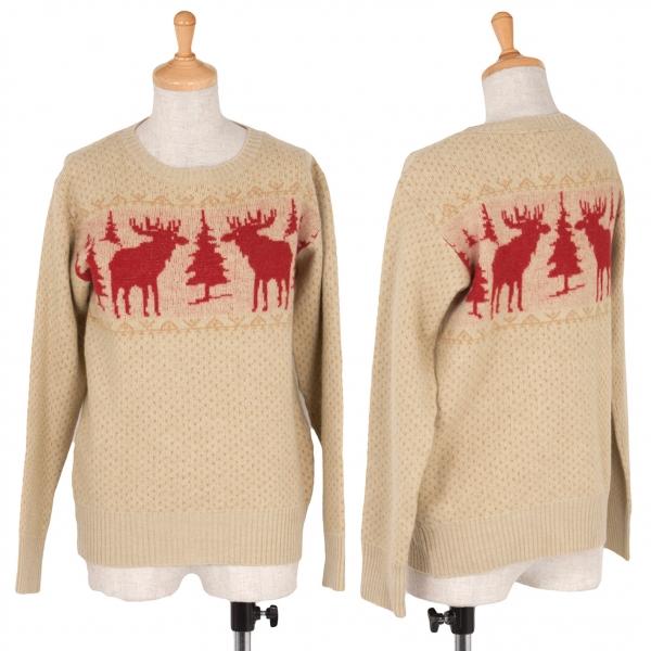 45rpm Wool reindeer pattern knit Größe 1(K-37377)