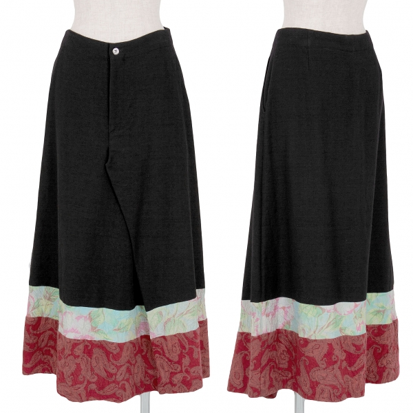 【SALE】トリコ コムデギャルソンtricot COMME des GARCONS 裾切替ウール起毛スカート 黒マルチM