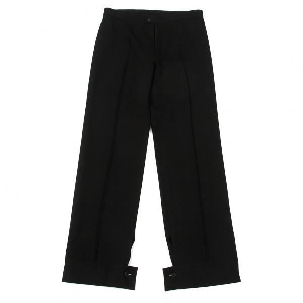 【SALE】ヨウジヤマモト ファムYohji Yamamoto FEMME 裾ボタンセンタータックウールパンツ 黒2