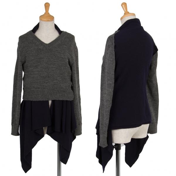 (SALE) COMME des GARCONS Wool docking design knit top Größe XS(K-39474)