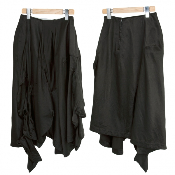 【SALE】コムデギャルソンCOMME des GARCONS シルクウールスリーブドッキング変形スカート 黒S