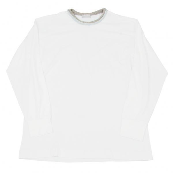 コムデギャルソン オムCOMME des GARCONS HOMME 衿ウール配色切替長袖Tシャツ 白杢グレーブルーM位