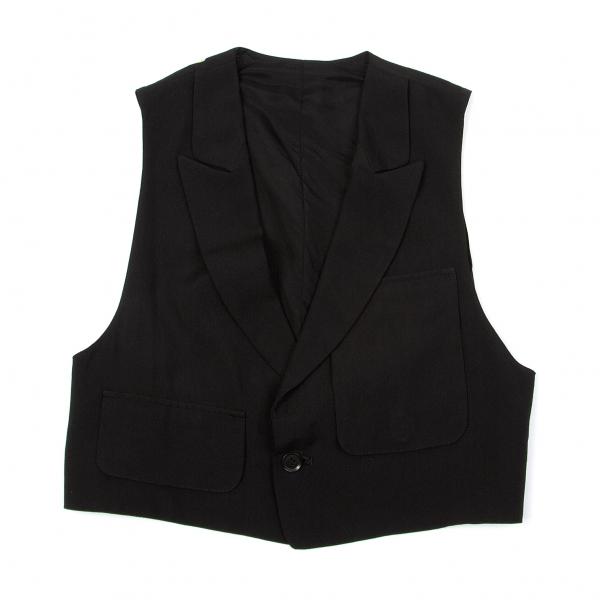 ワイズY's レーヨンキュプラポケットデザインショートベスト 黒2