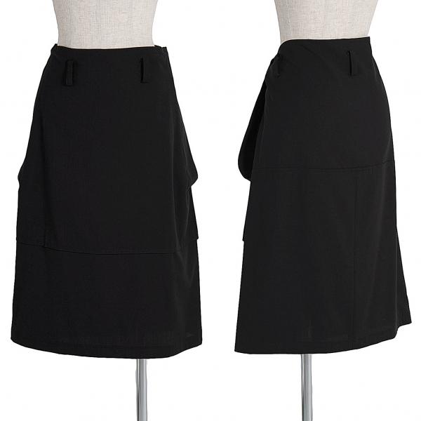 ワイズY's ウールギャバ切替台形スカート 黒M位
