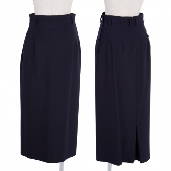 【SALE】ワイズY's ウールロングプリーツベントスカート 濃紺M位