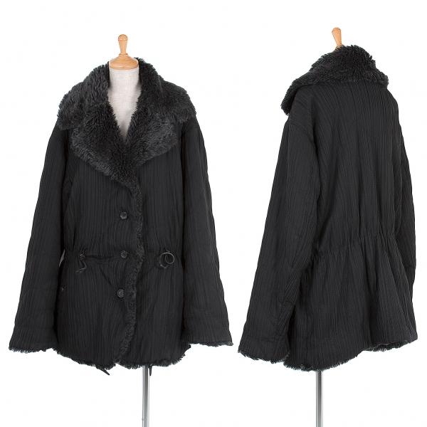 【SALE】イッセイミヤケISSEY MIYAKE 裏ファープリーツキルティングジャケット 黒M