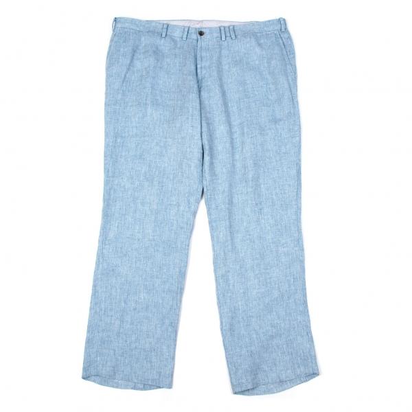 パパスPapas 麻ヘリンボーン織2タックパンツ ブルー58(3X)