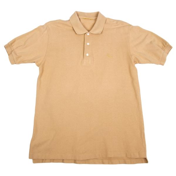 パパスPapas ロゴ刺繍鹿の子ポロシャツ モカM