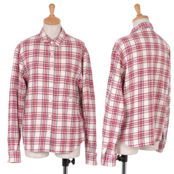 Mademoiselle NON NON Plaid Cotton flannel Shirt Größe L(K-44981)