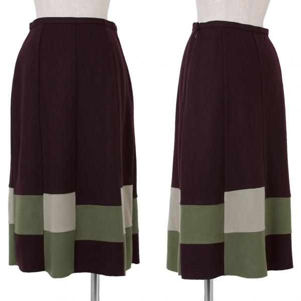 【SALE】ホコモモラJocomomola ウール切替ニットスカート 濃紫緑ベージュ40