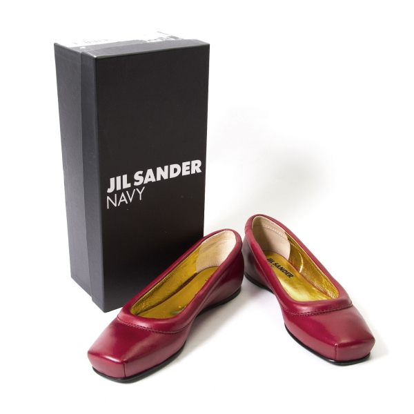 JIL SANDER Shoes NAVY Flat Pelle Shoes SANDER Size 37(K-45901) 86c763