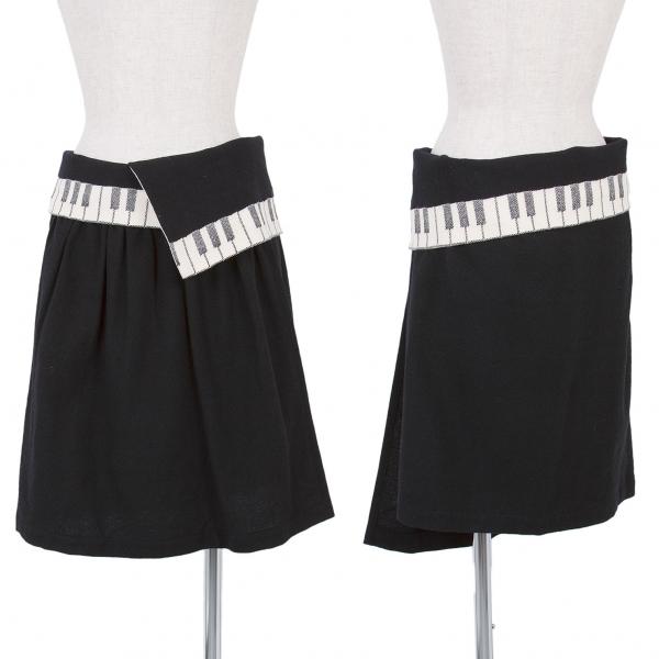 リミフゥLIMI feu ピアノデザインウール巻きスカート 黒オフS