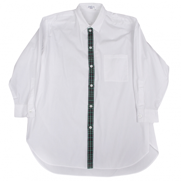 【SALE】ヨウジヤマモト プールオムYohji Yamamoto POUR HOMME 前立てチェックコットンロングシャツ 白M