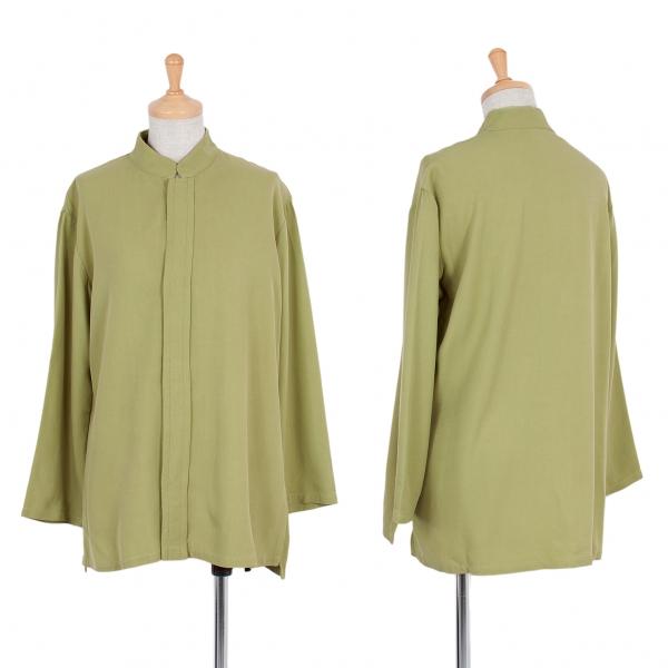 【SALE】ワイズY's カシミヤ混スタンドカラー比翼シャツジャケット 薄緑2