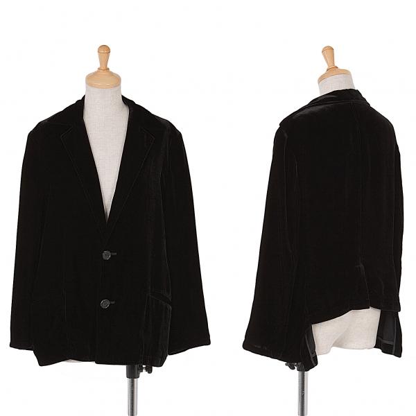 ワイズY's ベロア2Bジャケット 黒2