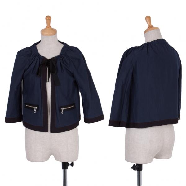 ランバンオンブルーLANVIN en Bleu リボンデザインショートジャケット 紺黒38