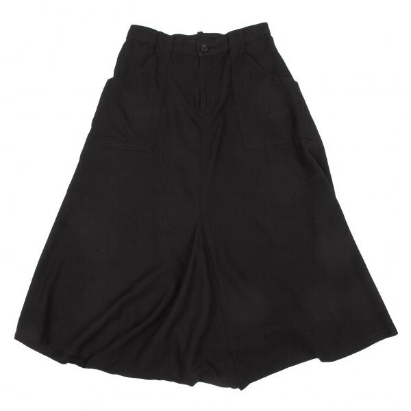 ワイズY's レーヨンポケットデザインサルエルパンツ 黒1